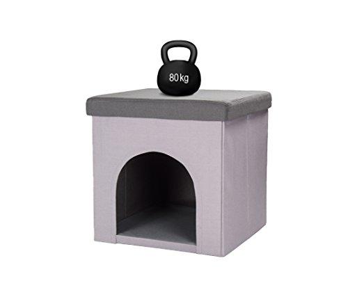 Hundehöhle und Hocker grau, Tierhöhle, Sitzhocker - 6