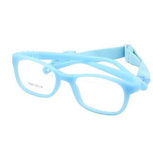 EnzoDate Children Glasses Frame Size 44/16 with Strap No Screw 3-5Y(Blau)