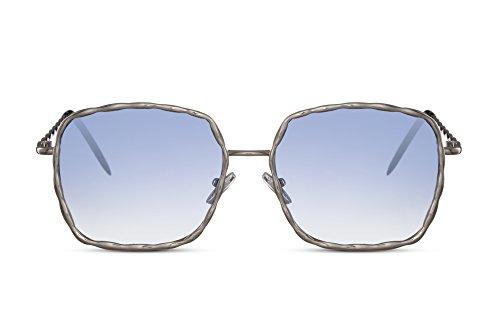 Cheapass Sonnenbrille Rund-e Silber Blau Groß-e Designer-Brille XXL Blumen-Motiv UV-400 Lichtschutz Festival-Accessoire Damen Frauen