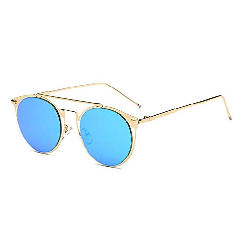 MOJINGYAN Sonnenbrillen,Vintage Colorfull Metall Sonnenbrillen Mode Thom Browne Sonnenbrille Männer Marke Sonnenbrille Box Frauen Gold Ice Blue
