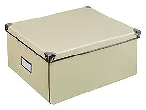 Idena Caja de cartón rígido Tapa Reforzada con Metal, Incluye Campo de rotulación, Aprox. 36 x 28 x 17 cm.