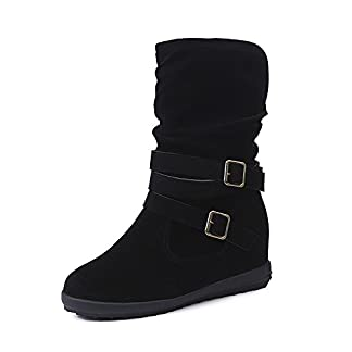 Boots Sunday77 Flcok Low Solid Square Heel Ankle Leather PU Ladies Winter Adults Comfort Casual Shoes Boots for Women