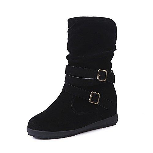 VJGOAL Damen Stiefel, Damen Weiche Dicke Flaum Winter warme Sone Low Wedge Schnalle Biker Knöchel Trim Flache Ankle Boots Schuhe