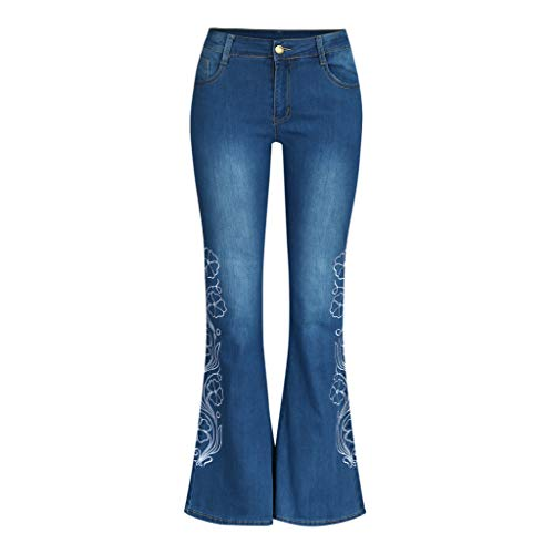 Produp Damen High Waist Jeans Button Embroidery Pocket Bell-Bottom Pants Trousers