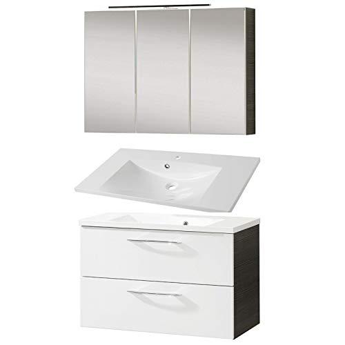 FACKELMANN Badmöbel Set Vadea 3-tlg. 90 cm weiß mit Waschtisch Unterschrank & Gussbecken & LED Spiegelschrank