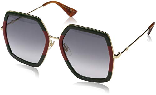 Gucci Damen GG0106S 007 Sonnenbrille, Grün (Green/Grey), 56
