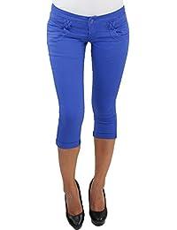 Damen 3//4 Jeans Stretch Capri mit Gürtel Kurze Hose Shorts Bemuda Hüft Sommer