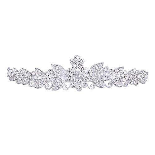 Mode Foxnovo Schöne Hochzeit Braut Glänzende Kristall Strass Crown Tiara Stirnband Haarband mit Kamm (Silber)