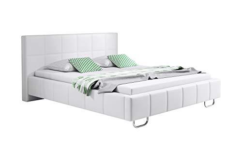 muebles bonitos Letto Matrimoniale Moderno di Design Sofia Bianco Rivestito in Ecopelle per Materasso da 180x200cm con Rete Incluse