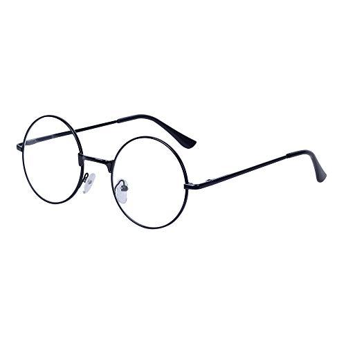 Damen Herren Lesebrille Rund Retro +1.0 (45-49 Jahre) Klar Linse Metall Rahmen Presbyopische Gläser Nerdbrille mit Etui -