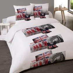 LINGE USINE Housse de Couette British Style 240 x 220 +2 Taies Coton