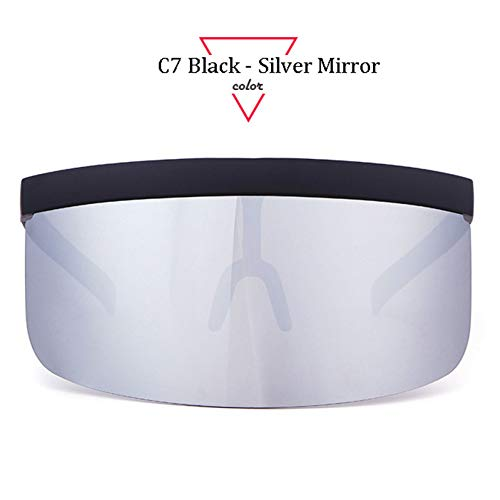CCGSDJ Frauen Visier Sonnenbrille Frauen Retro Winddicht Brille Männer Schild Visier Flat Top Hood Brillen