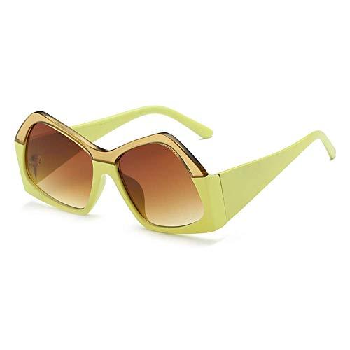 YHEGV Vintage Polygon Frauen Sonnenbrille Markendesigner Übergröße Retro Wrap Klare Linse Trendstile Sonnenbrille Männer Uv400 Shades