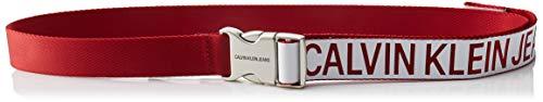 Calvin klein j 3cm canvas plaque belt cintura, rosso (lilac/tomato 907), 7 (taglia produttore: 95) donna