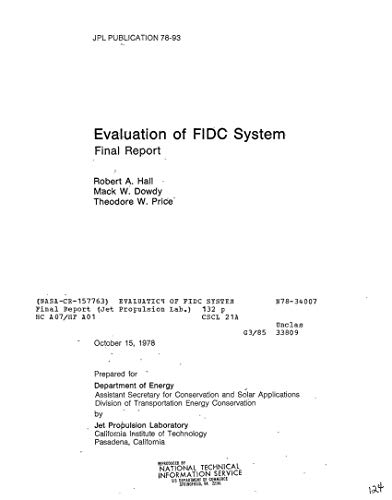 Evaluation of FIDC system. [fuel vapor injector/ogniter and lean limit controller for automobile engines] (English Edition) (Vapor Fuel)