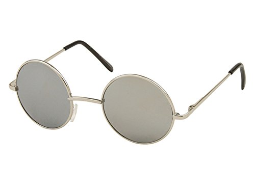 Sonnenbrille Unisex Rund Hippie Brille John Lennon getönt 400UV langer Steg silber verspiegelt (Bogen)
