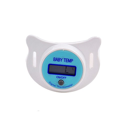Schnuller Thermometer, Isuper Digitales Fiberthermometer für Baby und Kleinkinder Baby Schnuller Thermometer mit LCD Display, Blau