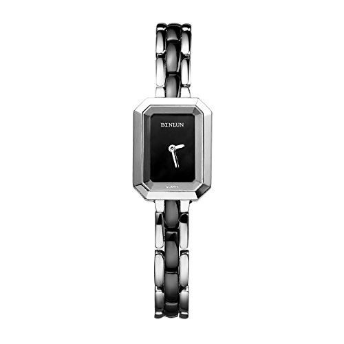 BINLUN Damen Analog Quarzwerk Uhr mit Keramik Armband Wasserdicht Schwarz FBL0007L-CBB