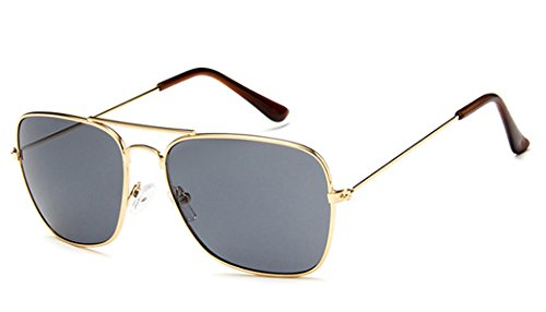 Sonnenbrille Trapez Pilotenbrille 400UV Metallgestell getönt verspiegelt korean hoher Steg unisex...