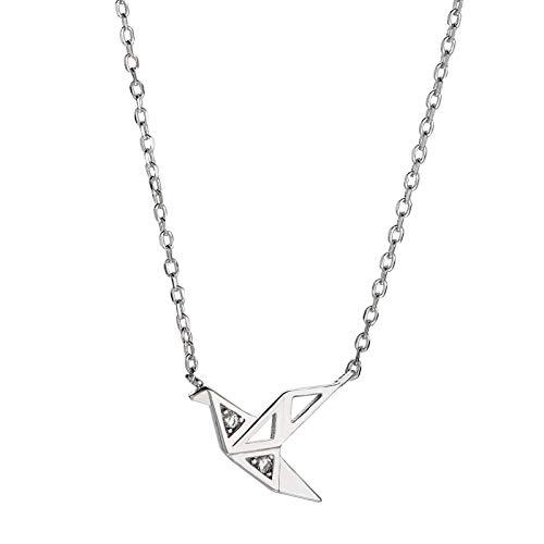 ASAE Halskette, Thousand Paper Crane Halskette Sterling Silber Flash Diamond Paper Crane Halskette Temperament Schlüsselbein Kette für Geschenk Anlässe Mitarbeiter Wohlfahrt, Hochzeit Gedenken (Paper Diamond)