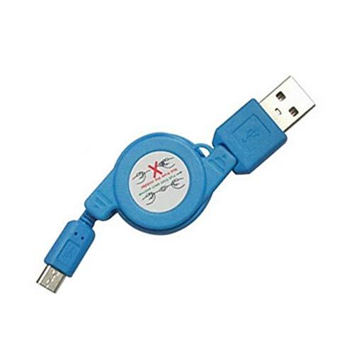 Xiton Retractable Daten-Sync-Kabel versenkbare Mini-Ladekabel ist kompatibel mit Samsung Galaxy und mehr Android-Geräten in blau - Mini Retractable Sync