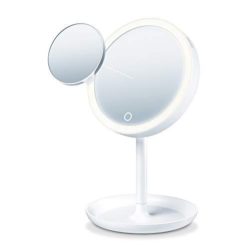 Beurer BS 45 Beleuchteter Kosmetikspiegel mit LED Licht, Touch Sensor Knopf, magnetischer extra Spiegel mit 5-facher Vergrößerung, Dimmfunktion