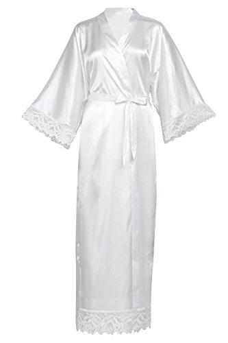 """Material: Poliéster. Talla única para la mayoría. Kimono Puramente Blanco.Longitud: 53""""/134.6 cm. Se adapta hasta 56""""/142.2cm en el pecho y la cadera.Ocasiones: kimono ampliamente utilizada, perfecta para el uso diario y muchos tipos de ocasiones esp..."""