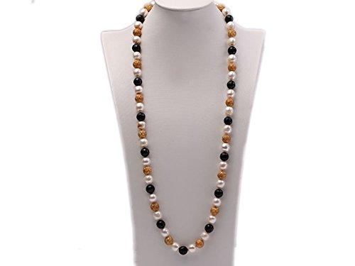 jyx weiß Barock Pearl Halskette 83,8cm–12mm Süßwasserperlen Halskette mit geschnitzten schwarz Achat & Shiny Glänzend Goldene vergoldet Kugeln (Geschnitzt Vergoldet)