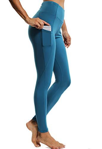 CROSS1946 Damen Sport Leggings - Tummy Control - Basic EINFARBIG - Lang Yoga Tights Fuer Gym Fitness Blau-1160 Small (Active Basic Leggings)