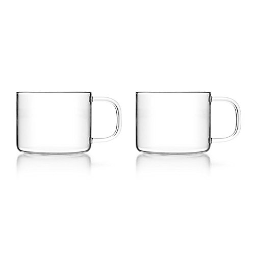 Kleine Glas-teekanne Mit Infuser (Teegläser Set Zwei Teegläser mit Henkel 150ml Füllvolumen / Ideal für kleiner Mengen Tee oder für eine Teezeremonie mit Freunden / 2x Teeglas 150 ml)