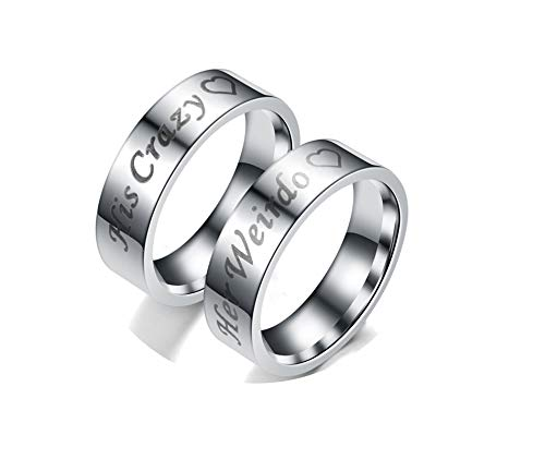 KnBoB HerrenRinge 2PCS Ringe Graviert Her Weirdo/His Crazy Silber HerrenRinge Damen Gr.60 (19.1) & Herren Gr.65 (20.7) Edelstahl Ringe