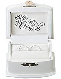 Lillian Rose Ring Bearer Box, 3.5-Inch by 2.75-Inch, White