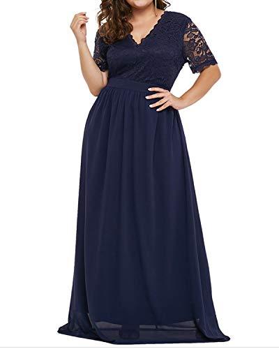 AUDATE Lang Cocktailkleid Übergröße Chiffon Spitze Abendkleider Plus Size Party Kleid für Damen Marine DE 48