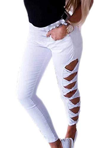 Oneforus Frau dünne Dehnbare Jeans hohe Aufstiegs-Stretch-Jeans Hohle beiläufige Stretch-Denim-Hosen Super