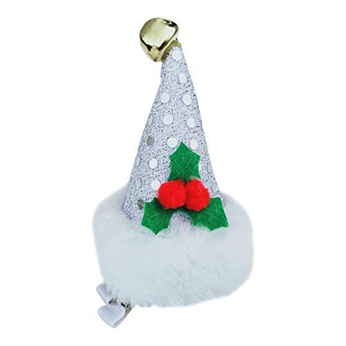 Amosfun Weihnachtsmann Mütze Haarspangen Pailletten Haarnadel Haarspange Party Haarschmuck Geburtstagsparty begünstigt Geschenke (Silber)