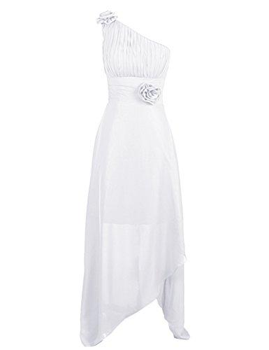 Dressystar Damen One Shoulder Kleider Chiffon Abendkleider Ballkleider Brautjungfern elegante Maxikleider Cocktailkleider Weiß