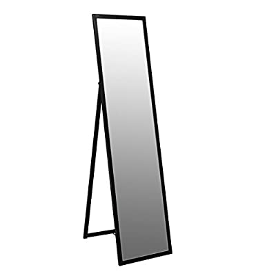 Metal Framed Free Standing Full Length Mirror 1370mm - Black - low-cost UK light shop.
