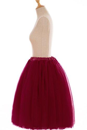 Babyonline Damen Tüllrock 5 Lage Prinzessin Kleider Knielang Petticoat Ballettrock Unterrock Pettiskirt Swing One Size - XL Weinrot