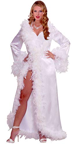 Forum Novelties Inc. Adult Vintage Hollywood Starlet Goddess White Marabou Satin Robe Costume - Satin-vintage-robe