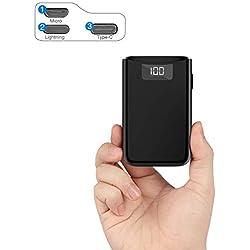 POSUGEAR Powerbank 10000mAh, Bateria Externa para Movil con 3 Entradas de USB C/Micro/L ightning, 2 Salidas y Pantalla LED Compatibles con Todos Los Teléfonos y Tabletas