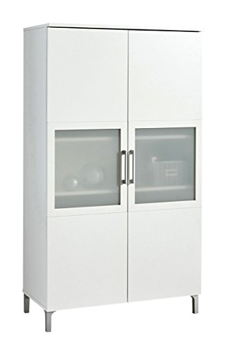 Armario Vitrina de 2 Puertas con Cristal de salón Comedor. Blanco Perla. 140x80 cm