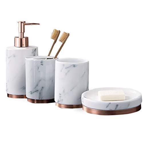 HSRG Badzubehör-Set, 5-teiliges Badensemble mit Seifenspender, Zahnbürstenhalter, Seifenschale für dekorative Arbeitsplatte und Einweihungsparty