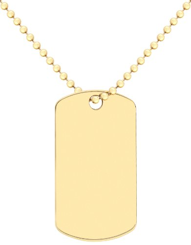 Carissima Gold 9 ct Yellow Gold Dog tag On Ball Chain Necklace of 51 cm/20 inch