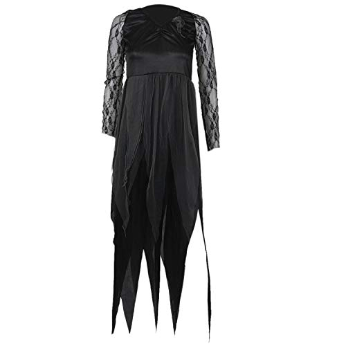 XZANTE Halloween Frauen Kostuem Friedhof Braut Corpse Kleid Damen Black Lace Cosplay Fancy Dress Party L
