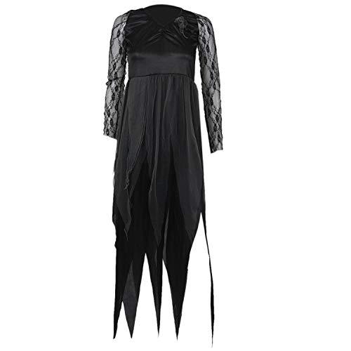XZANTE Halloween Frauen Kostuem Friedhof Braut Corpse Kleid Damen Black Lace Cosplay Fancy Dress Party XL (Kostüm Braut Friedhof)