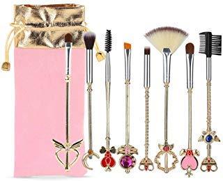 Coshine 8pcs Sailor Moon Gold Make-up Pinsel Set mit Beutel, Magische Mädchen niedlich Kosmetik Make-up Pinsel mit rosa Beutel (Mädchen Make-up Pinsel Set Rosa)