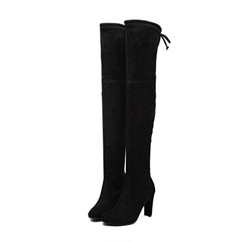 WZG War dünne Stretch-Wildleder Stiefel Schuhe nach den Kreuzgurte dick Spitze mit hochhackigen Stiefeln, kniehohe Stiefel Stiefel Black