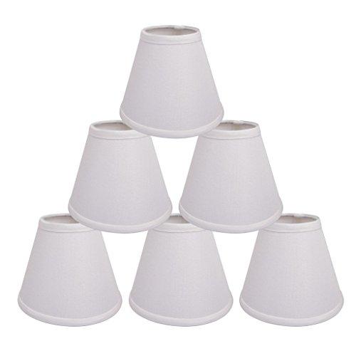 ONEPRE Creme Clip für Kronleuchter Lampenschirme Hardback Kerze Leinen Lampenschirm cremefarben 15,2 cm 6er Set, weiß (Creme Lampenschirm Leinen)