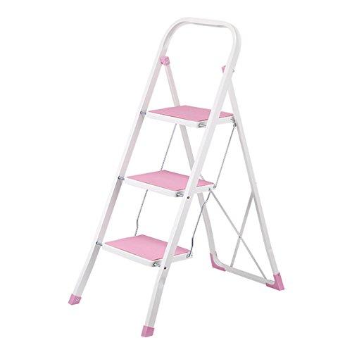 CHAOXIANG Pliable Escalier Tabouret Multifonction Double Usage Portable Antidérapant Large Pédale avec accoudoirs Chaise lron 4 Couleurs (Couleur : Pink-H1045MM)