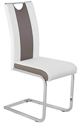 FidgetGear *R5303-29 / Freischwinger Schwingstuhl Küchenstuhl Kunstleder Weiß Cappuccino Show One Size